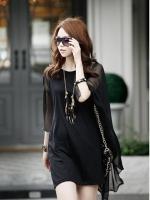 DRESS ชุดเดรสแฟชั่นเกาหลี ผ้า COTTON ตัดต่อผ้าชีฟอง สีดำ ใส่ออกงานได้ ASIA STREET FASHION