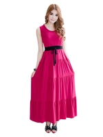 Fashionstory Maxi Womens Dresses Online รุ่น 763/4 (สีแดงเข้ม)