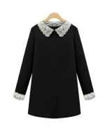 Europe in the Autumn of 2015 New Europe Large Size Women DollCollar Loose Shop Fashion Dresses Online Skirt All-Match Backing