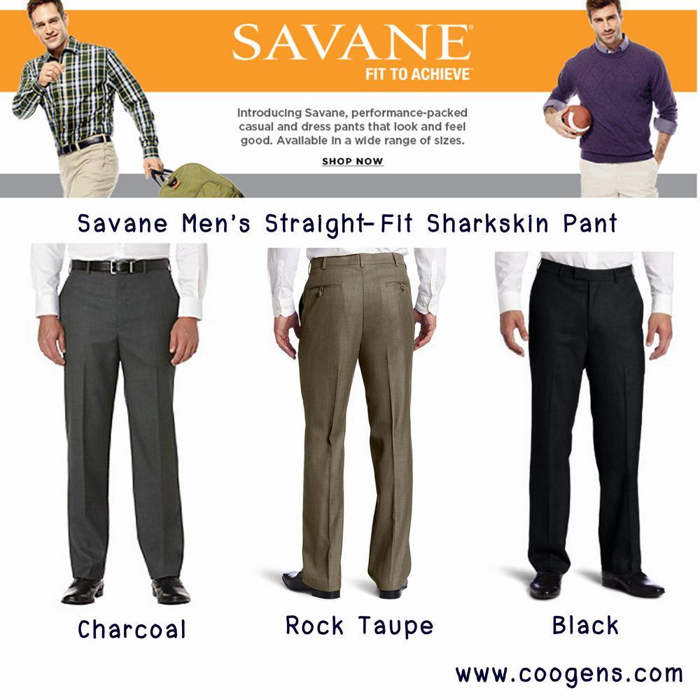 Savane® Men's Straight-Fit Sharkskin Dress Pant