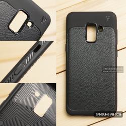 เคส Samsung Galaxy A8 2018 เคสนิ่ม Hybrid เกรดพรีเมี่ยม ลายหนัง (ขอบนูนกันกล้อง) แบบที่ 1