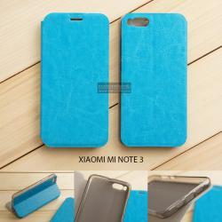 เคส Xiaomi Mi Note 3 เคสฝาพับบางพิเศษ พร้อมแผ่นเหล็กป้องกันของมีคม พับเป็นขาตั้งได้ สีฟ้า
