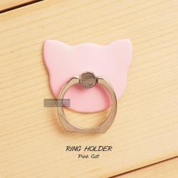 ( สำหรับลูกค้าที่สั่งซื้อสินค้า 100 บาท ขึ้นไป ไม่รวมค่าจัดส่ง) RING HOLDER แหวนมือถือ ( ป้องกันการตกหล่น ใช้เป็นขาตั้งได้ ฯลฯ ) สีชมพู (CAT)