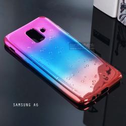 เคส Samsung Galaxy A6 (2018) เคสนิ่ม TPU ขอบเงา สีสันสดใส (ชมพู - ฟ้า - ส้ม)