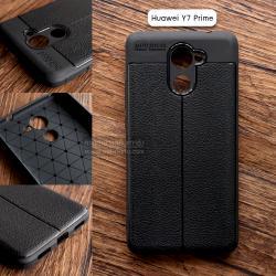 เคส Huawei Y7 Prime เคสนิ่ม Hybrid เกรดพรีเมี่ยม ลายหนัง (ขอบนูนกันกล้อง) แบบที่ 2 (มีเส้นตรงกลาง)