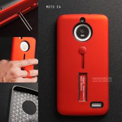 เคส Moto E4 เคส Hybrid เกรดพรีเมี่ยม 2 ชั้น ขอบยางลดแรงกระแทก พร้อม (ขาตั้ง + สายคล้องนิ้ว) สีแดง