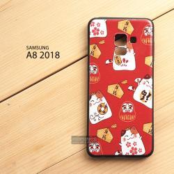 เคส Samsung Galaxy A8 2018 เคสนิ่ม TPU พิมพ์ลาย (ขอบดำ) แบบที่ 6