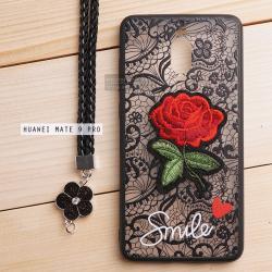เคส Huawei Mate 9 Pro เคสอะครีลิค ขอบยางสีดำ ลายดอกกุหลาบ (พร้อมสายคล้องโทรศัพท์) พื้นหลังสีดำ (สายรูปดอกไม้)