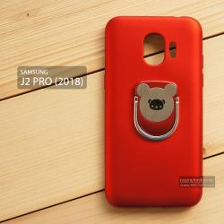 เคส Samsung Galaxy J2 Pro (2018) เคสนิ่ม TPU สีเรียบ พร้อมแหวนมือถือรูปหมี (BEAR) สีแดง
