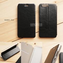 เคส Huawei P10 เคสหนังฝาพับ + แผ่นเหล็กป้องกันตัวเครื่อง (บางพิเศษ) สีดำ