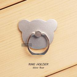 ( สำหรับลูกค้าที่สั่งซื้อสินค้า 100 บาท ขึ้นไป ไม่รวมค่าจัดส่ง) RING HOLDER แหวนมือถือ ( ป้องกันการตกหล่น ใช้เป็นขาตั้งได้ ฯลฯ ) สีเงิน (BEAR)
