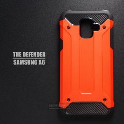 เคส Samsung Galaxy A6 เคสบั๊มเปอร์ (เสริมขอบกันกระแทก) สีส้มอมแดง Hybrid Protection