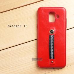เคส Samsung Galaxy A6 (2018) เคส Hybrid 2 ชั้น พิมพ์ลายหนัง สีแดง (พร้อมสายคล้องนิ้ว)