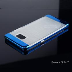 เคส Samsung Galaxy Note FE เคสนิ่ม TPU สีขาวลายทางแบบหนา (SYMPHONY-PLATING) พร้อมขอบแข็ง สีน้ำเงิน