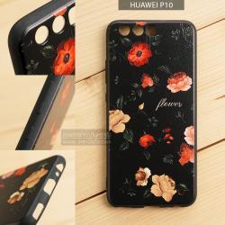 เคส Huawei P10 เคสอะครีลิค ขอบยางสีดำ พิมพ์ลายนูน (Flower) สีดำ