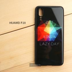 เคส Huawei P20 เคสขอบยางดำ + กระจกกันรอยครอบทับหลังเคส เกรดพรีเมี่ยม พิมพ์ลาย แบบที่ 3