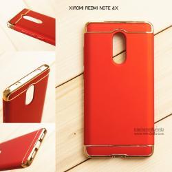 เคส Xiaomi Redmi Note 4X เคสแข็งความยืดหยุ่นสูง (แบบ 3 ส่วนสวมหัว - ท้าย) สีแดง - ทอง