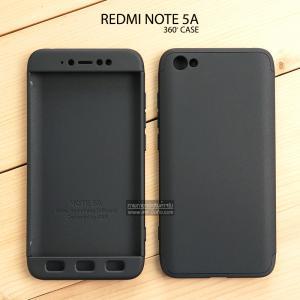 เคส Redmi Note 5A เคสแข็งแบบ 3 ส่วน ครอบคลุม 360 องศา (สีดำ - ดำ)