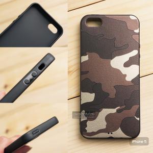 เคส iPhone 5 เคสนิ่ม TPU ลายทหาร (ขอบดำ) สีน้ำตาล