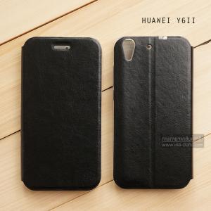 เคส Huawei Y6ii เคสหนัง + แผ่นเหล็กป้องกันตัวเครื่อง (บางพิเศษ) สีดำ
