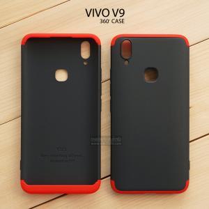 เคส Vivo V9 เคสแข็ง 3 ส่วน ครอบคลุม 360 องศา (สีดำ - แดง)