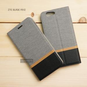 เคส ZTE Blade A512 เคสฝาพับหนัง PVC มีช่องใส่บัตร สีเทา