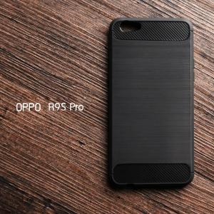 เคส OPPO R9s PRO เคสนิ่ม กันกระแทก ลดรอยนิ้วมือ (Texture ลายโลหะขัด) สีดำ