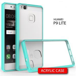 เคส Huawei P9 Lite เคส Hybrid ฝาหลังอะคริลิคใส ขอบยางกันกระแทก สีเขียวอมฟ้า