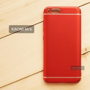 เคส Xiaomi Mi 6 เคสแข็งสีเรียบ คลุมขอบ 4 ด้าน สีแดง (แถบสีเงิน บน-ล่าง)