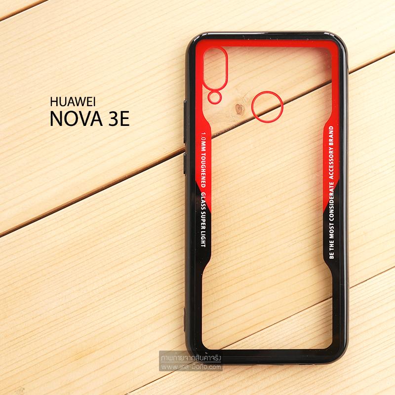 เคส Huawei Nova 3E เคสขอบนิ่ม ฝาหลังอะคริลิคใส ขอบยางกันกระแทก (สีแดง - ดำ)