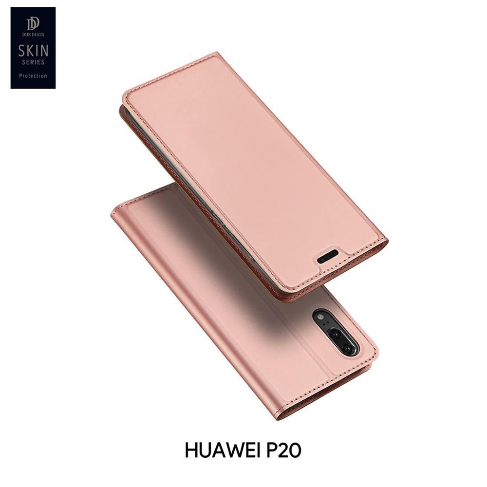 เคส Huawei P20 เคสฝาพับเกรดพรีเมี่ยม เย็บขอบ พับเป็นขาตั้งได้ สีโรสโกลด์ (Dux Ducis)