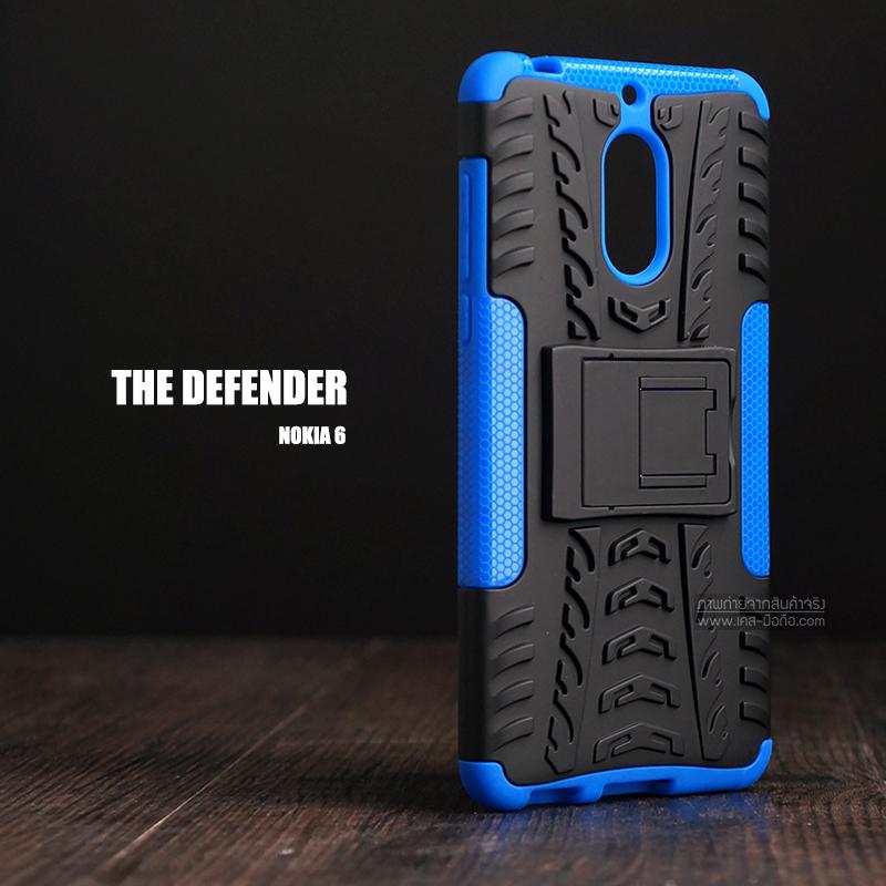 เคส Nokia 6 เคสบั๊มเปอร์ กันกระแทก Defender (พร้อมขาตั้ง) สีน้ำเงิน