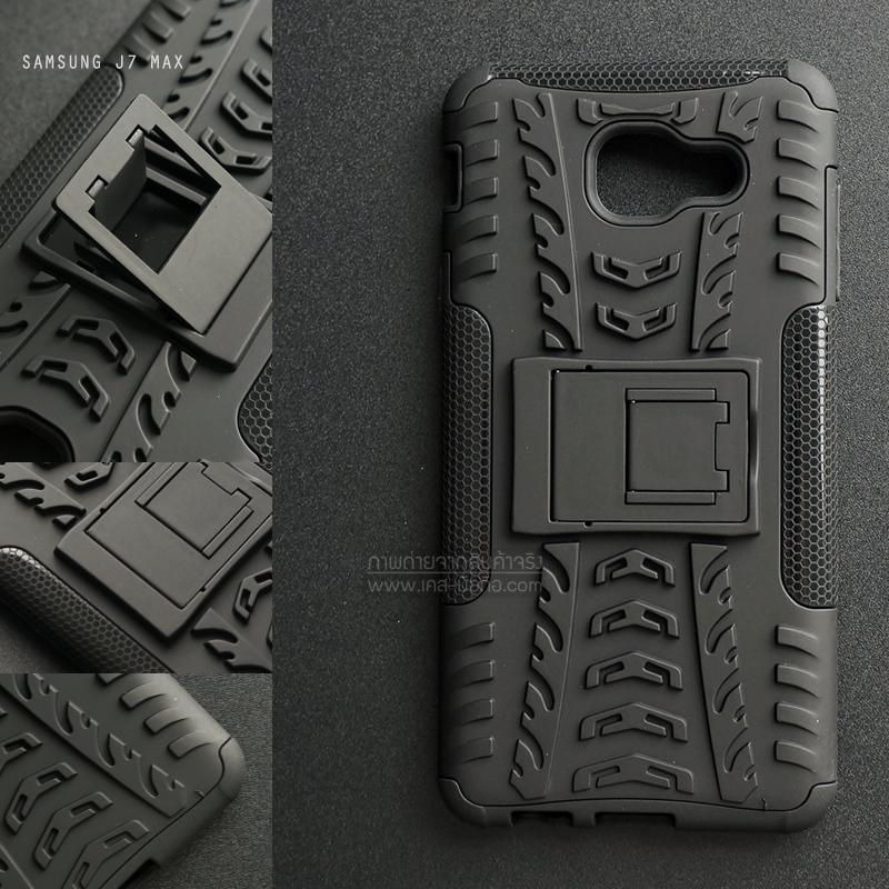 เคส Samsung Galaxy J7 Max เคสบั๊มเปอร์ กันกระแทก Defender (พร้อมขาตั้ง) สีดำ