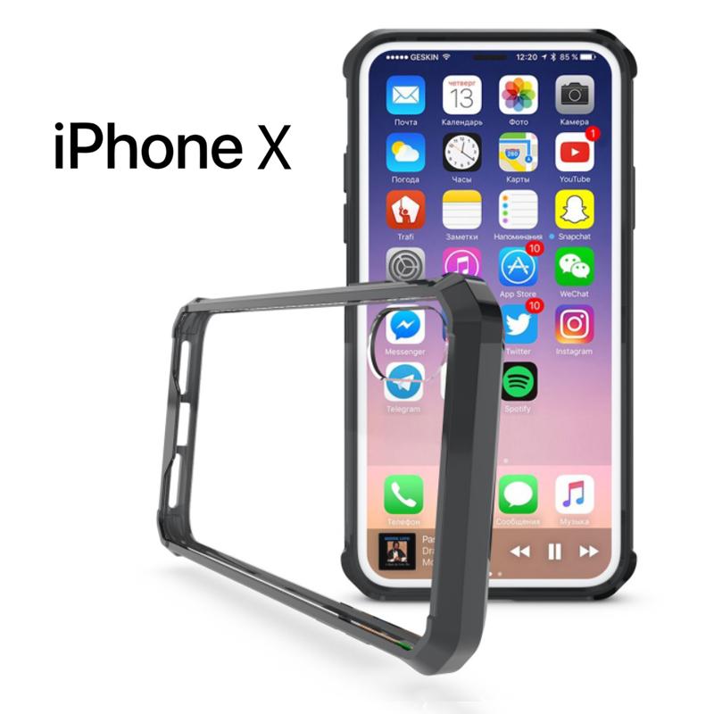 เคส iPhone X เคส Hybrid ฝาหลังอะคริลิคใส ขอบยางกันกระแทก สีดำ