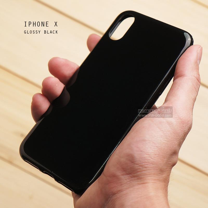 เคส iPhone X เคสแข็งผิวเงา Glossy ขอบยางนิ่ม สีดำ