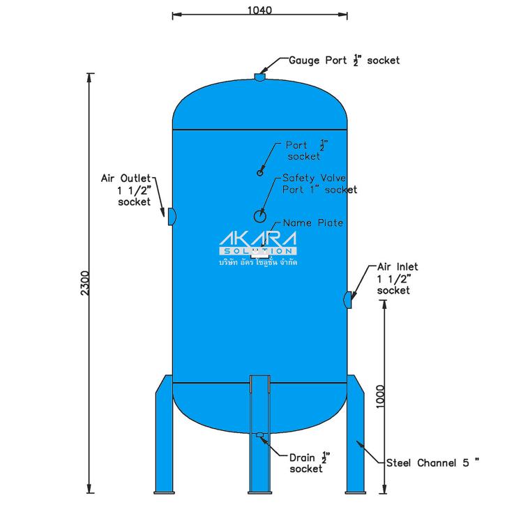ถังพักลม Air Tank รุ่น DK 1500-8 ขนาด 1500 ลิตร