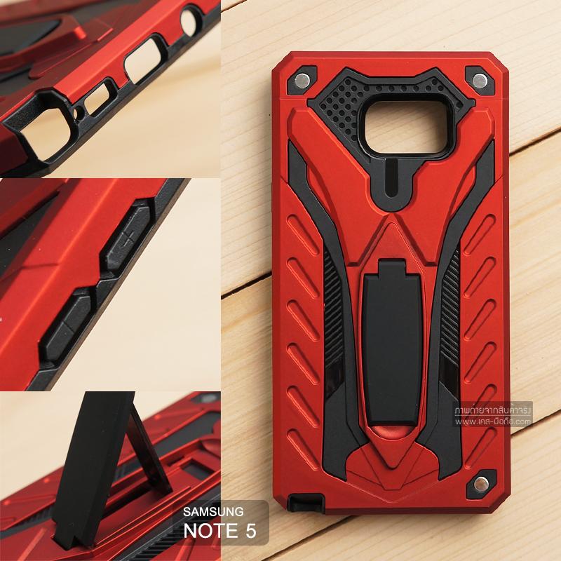 เคส Samsung Galaxy Note 5 เคสบั๊มเปอร์ กันกระแทก Defender 2 ชั้น (พร้อมขาตั้ง) สีแดง (แบบที่ 2)