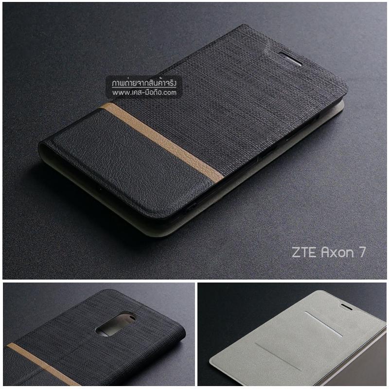 เคส ZTE Axon 7 เคสฝาพับหนัง PVC มีช่องใส่บัตร สีดำ
