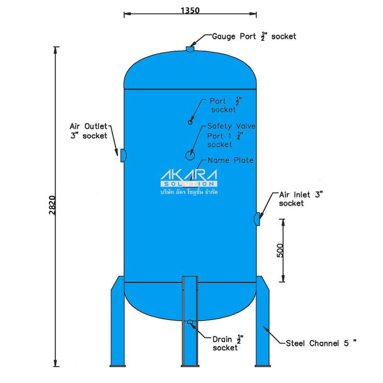 ถังพักลม Air Tank รุ่น DK 3000-8 ขนาด 3000 ลิตร