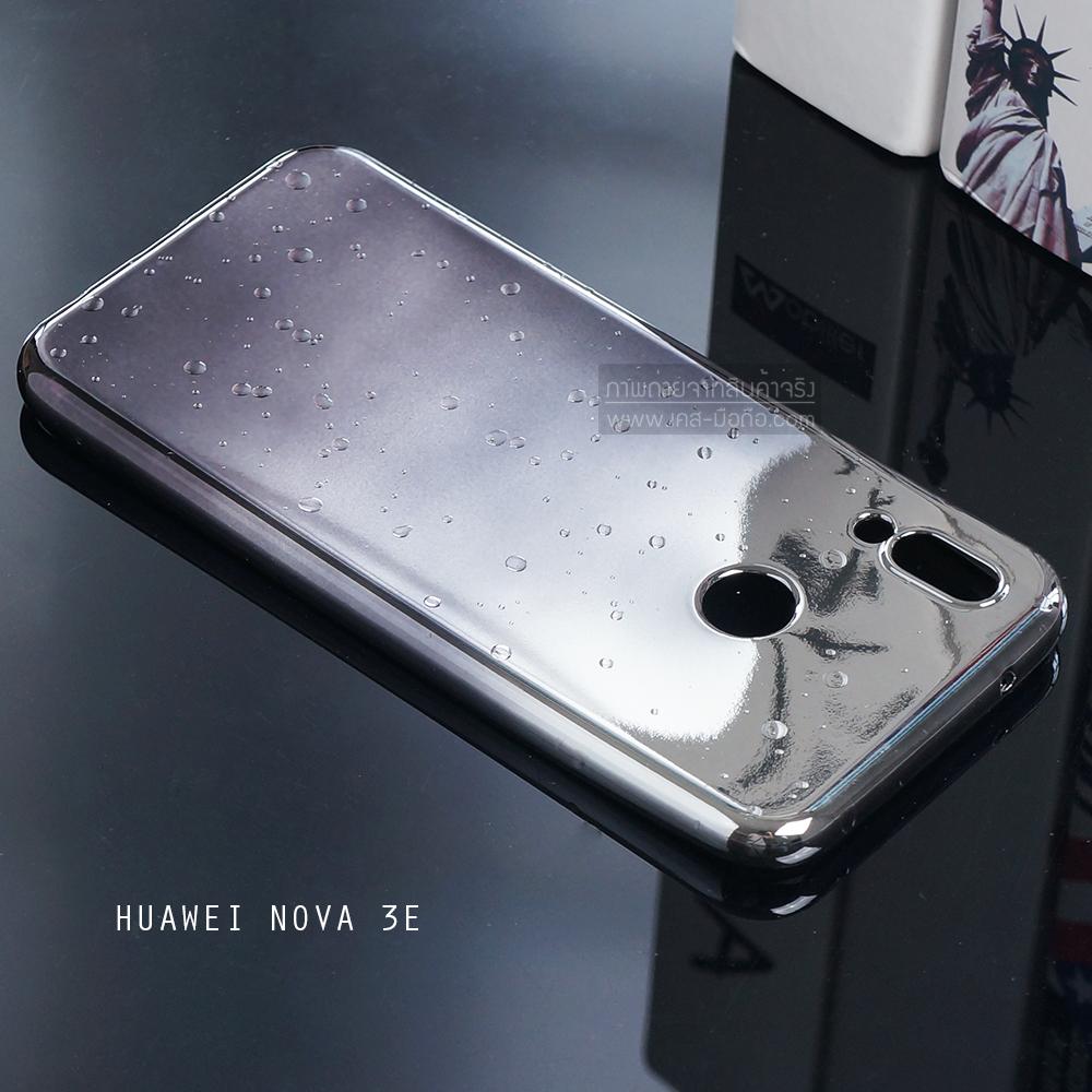 เคส Huawei Nova 3E เคสนิ่ม TPU ขอบเงา สีสันสดใส (ขาว - เทา)
