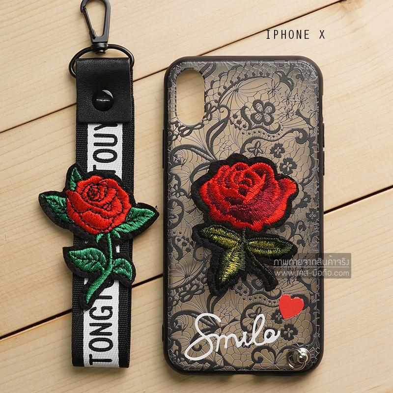 เคส iPhone X เคสอะครีลิค ขอบยางสีดำ ลายดอกกุหลาบ (พร้อมสายคล้องโทรศัพท์) พื้นหลังสีดำ