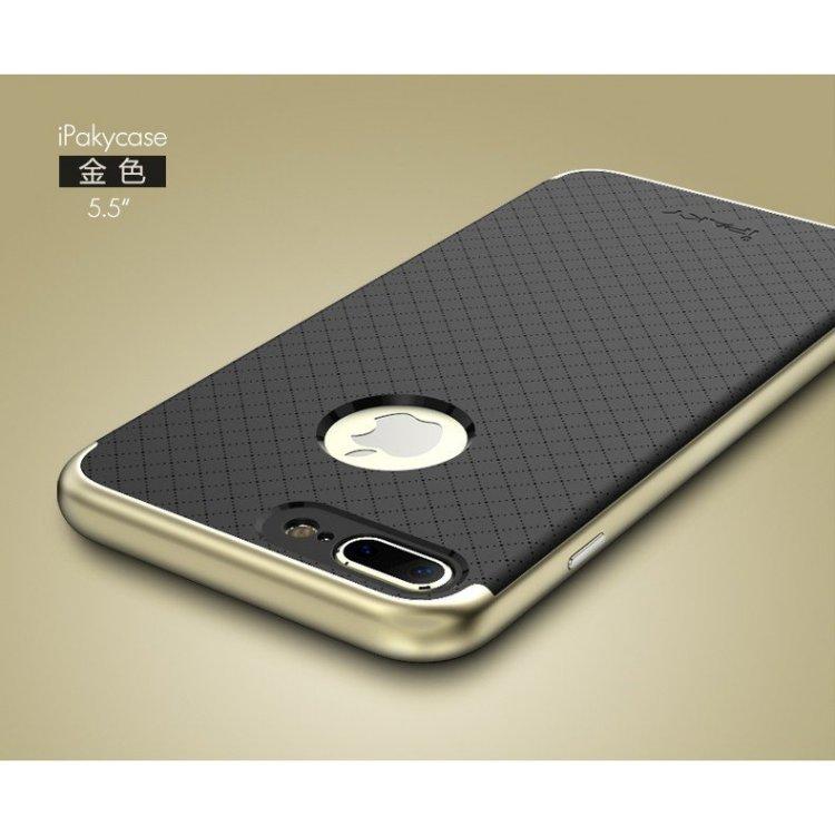 เคสสำหรับ iPhone 7 Plus เคส iPaky Hybrid Bumper เคสนิ่มพร้อมขอบบั๊มเปอร์ สีดำขอบทอง