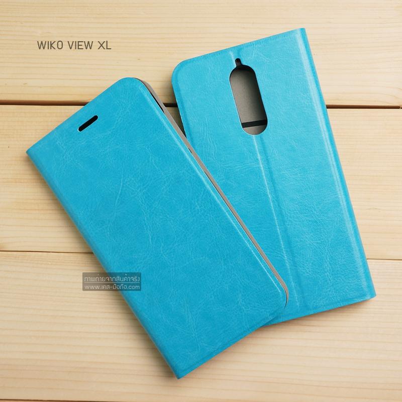 เคส Wiko View XL เคสฝาพับบางพิเศษ พร้อมแผ่นเหล็กป้องกันของมีคม พับเป็นขาตั้งได้ (มีช่องใส่บัตรด้านใน) สีฟ้า