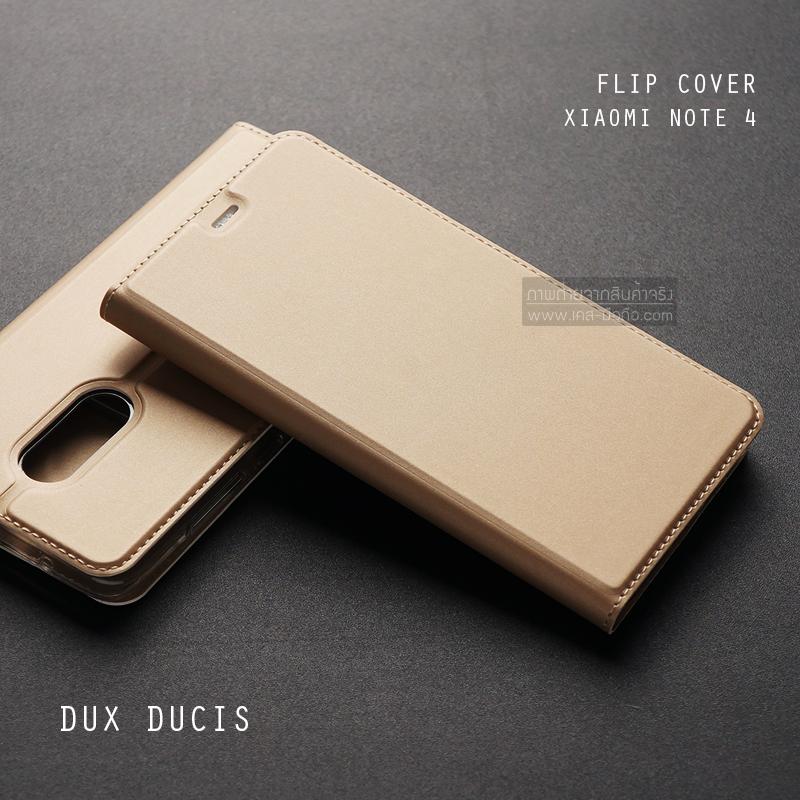 เคส Xiaomi Redmi Note 4 เคสฝาพับเกรดพรีเมี่ยม เย็บขอบ พับเป็นขาตั้งได้ สีทอง (Dux Ducis)