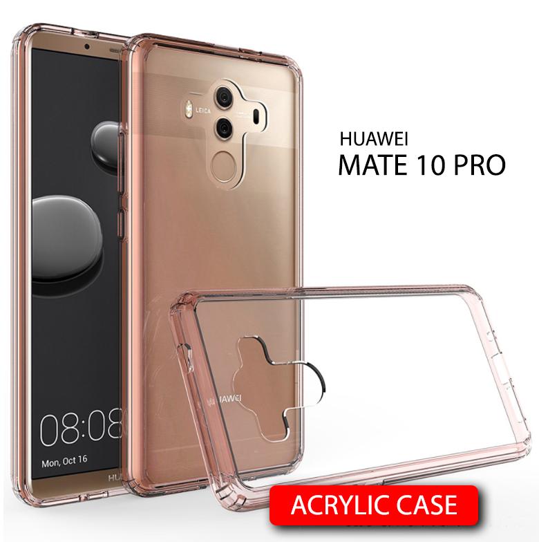 เคส Huawei Mate 10 Pro เคส Hybrid ฝาหลังอะคริลิคใส ขอบยางกันกระแทก สี Old rose