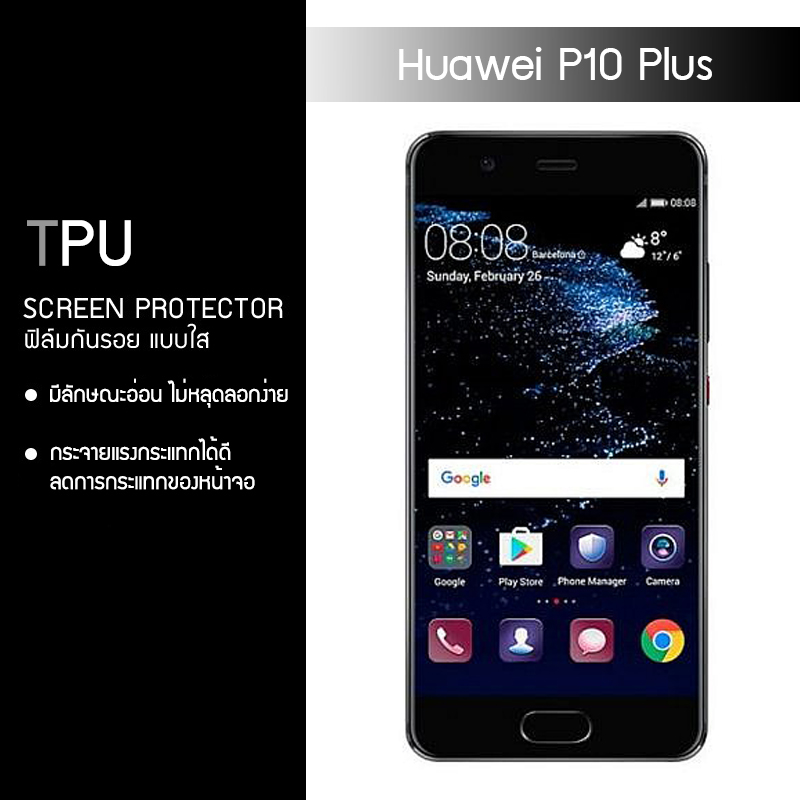 ฟิล์มกันรอย Huawei P10 Plus แบบใส (วัสดุ TPU)