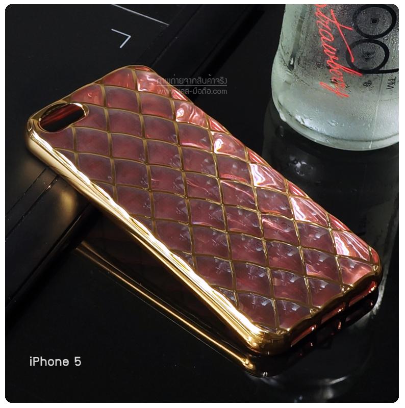 เคส iPhone 5 / SE เคสนิ่ม TPU ลายข้าวหลามตัดขอบสีทอง | สีชมพู